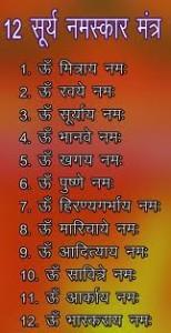 Surya Namaskars 12 names
